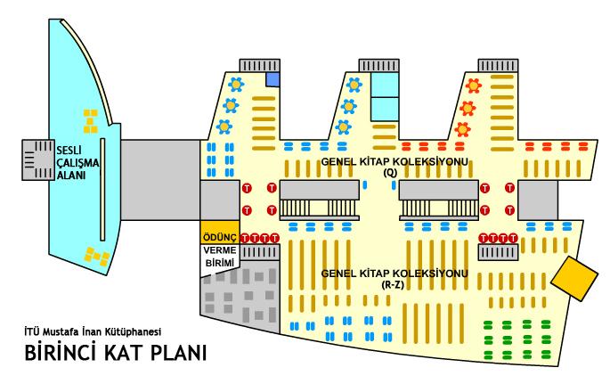 Kütüphane Kat Planı 1. Kat