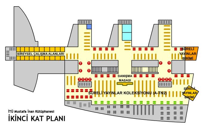 Kütüphane Kat Planı 2. Kat